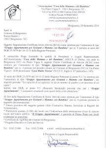"""Scan della Segnalazione Certificata di inizio attività (SCIA) n. Prot. 0022899/2013  presentata al Comune di Borgosesia in data 13/11/2013 per """"Accoglienza Comunitaria"""" per nr. 12 utenti di cui 2 per """"Pronto Intervento."""""""
