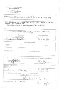 """Scan dell'Autorizzazione al Funzionamento ottenuta nell'anno 2006 per la """"Struttura Principale"""" per nr. 1 nucleo """"Comunità Mamma Bambino"""" (ora """"Comunità Genitore Bambino"""") per nr. 14 utenti."""