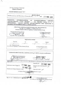 """Scan dell'Autorizzazione al Funzionamento anno 2011 di """"Casa Pietro"""" come Gruppo Appartamento per Gestanti e Mamme con Bambino"""