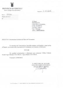Scan dell'Iscrizione al Registro Provinciale delle Associazioni di Volontariato